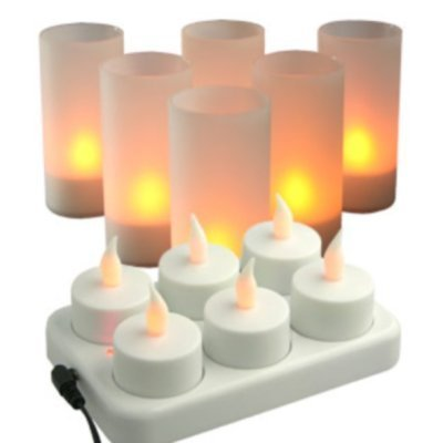 Grossiste Ensemble 6 bougies Photophores LED rechargeable