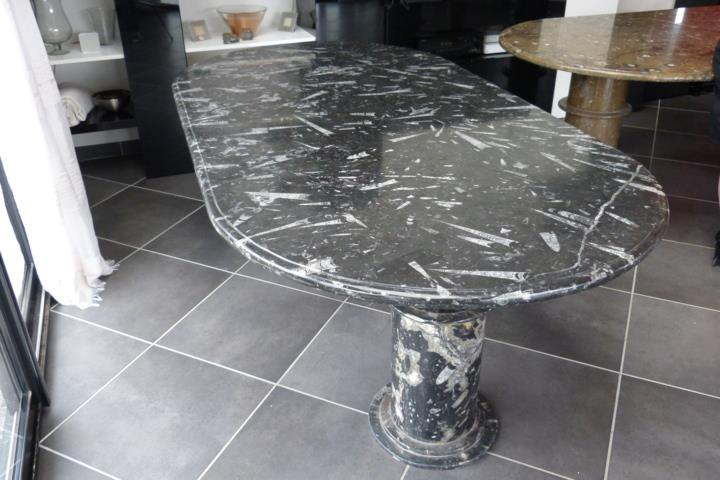 Table ovale en marbre fossilis import export for Table en marbre occasion