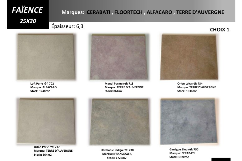 D stockage fa ence carrelage de fabrication fran aise for Fabricant carrelage france