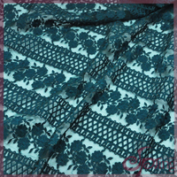 green floral embroidered mesh lace fabric