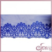 Blue flower embroidery elegant mesh lace fabric trimming for dress, blouse, tops