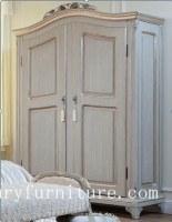 Garde-robe de porte de la garde-robe 2 de chambre à coucher, armoires français en bois solide de garde-robe d'armoire de garde-robe
