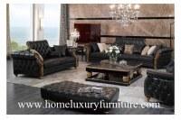 Le sofa classique de sofa en cuir place les meubles en bois TI-003 de salon de sofas en cuir noirs