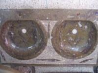 LAVABO double en marbre fossilisé