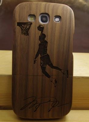 Grossiste Motif Sport Basket Ball Bois naturel Coque en bois véritable pour Samsung Galaxy S3 i9300