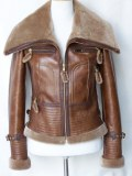 Veste bombardier femme en cuir d'Agneau et fourrure d'Agneau Mérinos