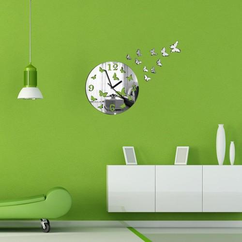 wanduhren diy spiegel wanduhr schmetterling import export. Black Bedroom Furniture Sets. Home Design Ideas