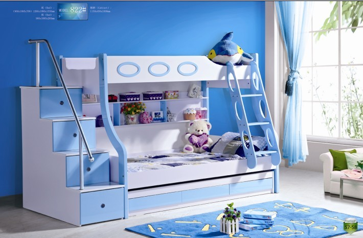 3pcs mdf panneaux lit superpos enfants avec escaliers et les tiroirs. Black Bedroom Furniture Sets. Home Design Ideas