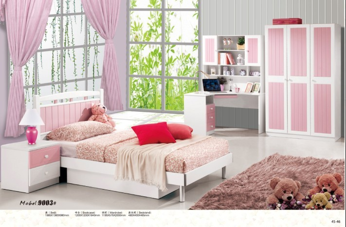 4 pi ces blanc rose princesse moderne mobilier de chambre fille. Black Bedroom Furniture Sets. Home Design Ideas