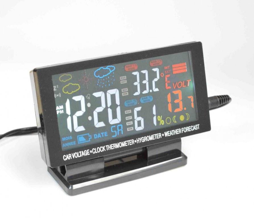 Asdomo Horloge /électronique de Voiture avec thermom/ètre int/érieur et ext/érieur /à Double capteurs LCD r/étro-/éclairage Bleu