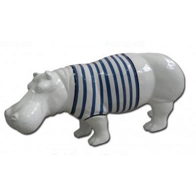 Hippopotame en mariniere bleu en resine laquee 82x173cm for Objet decoration hippopotame