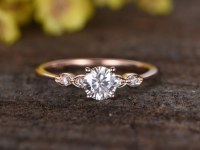 0.5 Carat Round Moissanite Engagement Ring Diamond 14k Rose Gold Three Stone Stacking...