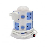 Wi-Fi smart tower power strip UK standard remote control approved 6 holes and 4 USB power strip British standard smart power socket plug-Works with iPhone, iPad, Android Phone