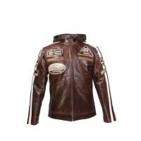 Crunch Split Brown Biker Jacket USI-8835