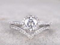2 Bridal Set,Moissanite Engagement ring White gold,V Diamond wedding band,Curve ring,14k,6.5mm Round Cut,Promise Ring,Art Deco,6-prong set