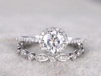 2 Bridal Set,Moissanite Engagement ring White gold,Diamond wedding band,Full eternity,14k,6.5mm Round Cut,Promise Ring,Art Deco,6-prong set
