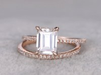 2 Moissanite Bridal Set,6x8mm Emerald Cut Moissanite Engagement ring rose gold,Diamond wedding band,14k,Promise Ring,Solitaire,Claws,pave