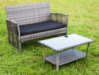 Set de meubles de jardin - canapé double et table