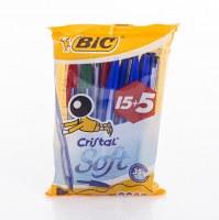 Stylos BIC Cristal Soft 20 pièces