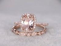 2pc 7x9mm Morganite Bridal Ring Set,Engagement ring Rose gold,Diamond wedding band,14k,Oval Cut,Cushion Halo,Art Deco,Half eternity,Milgrain