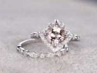 2pcs 8mm Morganite Bridal Ring Set,Art Deco Engagement ring White gold,Diamond wedding band,14K,Cushion Cut,Retro Vintage Floral,Milgrain