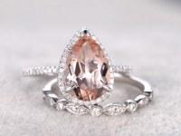 2pcs Bridal Ring Set,Morganite Engagement ring White gold,Diamond wedding band,14k,8x12mm Pear Cut,Promise Ring,Art Deco,Half eternity ring