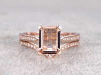 2pcs Bridal Ring Set,Solitaire Morganite Engagement ring Rose gold,Curve Diamond wedding band,14k,7x9mm Emerald Cut Gemstone,V matching band