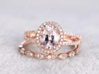 2pcs Bridal set,7x9mm Morganite Engagement ring rose gold,Diamond wedding band,14k,Oval Cut,Gemstone Promise Ring,Split shank,Art deco band