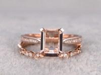 pcs Morganite Bridal Ring Set,Solitaire Engagement ring Rose gold,Unique Diamond wedding band,14k,7x9mm Emerald Cut,Art Deco,Open band