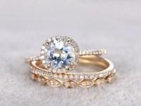 3 Aquamarine Ring Bridal Set,Engagement ring Yellow gold,Diamond wedding band,14k,7mm Round Cut,Blue Gemstone Promise Ring,Matching Band