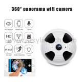 360 degrés panoramique fisheye détecteur de fumée sans fil caméra cachée
