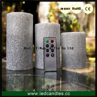 High quality Glitter LED Pillar Candle with Timer