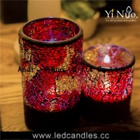 Home decoration flameless Mosaic glass candle holder 2pcs set