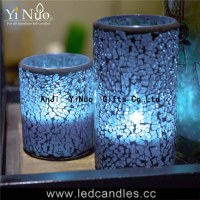 Christmas decoration flameless glass Mosaic candle holder 2pcs set