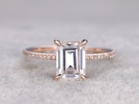 6x8mm Emerald Cut Moissanite Engagement ring Rose gold,Diamond wedding band,Solitaire Gemstone Promise Bridal Ring,Anniversary ring, 14k