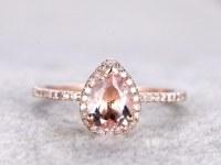 6x8mm Pear Cut Morganite Engagement ring Rose gold,Diamond wedding band,14k,Pear Shaped,Gemstone Promise Bridal Ring,Halo,V-tip,Pave Set