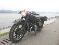 Two Wheels 750cc Motorcyle with Army Green Color