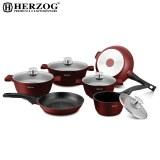 Herzog HR-ST16M: Batterie de cuisine moulée sous pression de 16 pièces Bordeaux