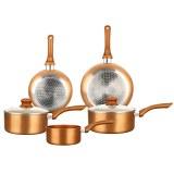 Herzberg HG-8044COP: Batterie de Cuisine en Cuivre Métallique, 7 pièces