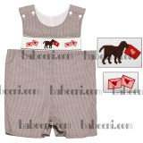Dog with love letter hand smocked baby short all