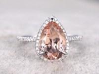 BIG 8x12mm Morganite Engagement ring White gold,Diamond wedding band,14k,Pear Shaped Cut,Gemstone Promise Bridal Ring,Claw Prongs,V-tip