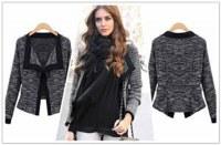 Black Fashion Long-sleeved Knitting Cardigan Short Coat