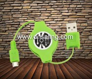 Retractable usb data cable with strain relief for smart phone