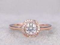 brilliant Moissanite Engagement ring Rose gold,Plain gold band,Diamond floral halo,14k,5mm Round,Gemstone Promise Bridal Ring,Anniversary