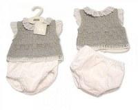 2 pcs ensemble bébé tricoté avec dentelle