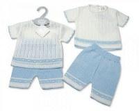 2 pcs short ensemble tricoté pour bébés garçons