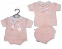 2 pcs ensemble tricoté avec nœud pour bébés filles