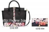 Black Flower série sac à main et porte-monnaie Trifold