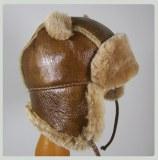 Chapka Chapeau bébé en cuir d'Agneau et fourrure naturelle d'Agneau