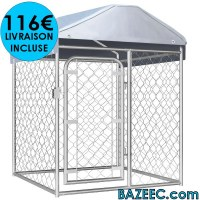 Chenil d'extérieur avec toit 100 x 100 cm LIVRAISON GRATUITE